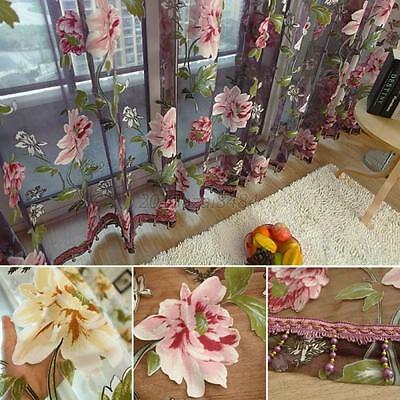 Floral Tulle Window Curtain Panel Sheer Voile Door Home Drape Scarf Valances Hot