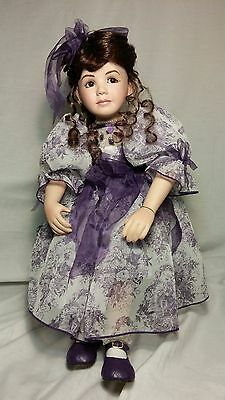 Marie Osmond Coming Up Roses Music Box Doll Bench Rosebuds Lavender Porcelain