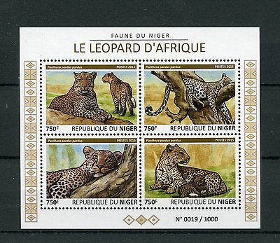 Niger 2015 MNH African Leopards 4v M/S Wild Animals Fauna Leopard Stamps