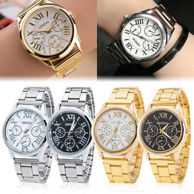 Fashion GENEVA Ladies Quartz Watch Women Stainless Steel Band Analog Wrist Watch