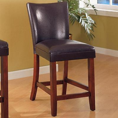 Brown Faux Leather Counter Height Dining Chair by Coaster 100358 - Set of 2