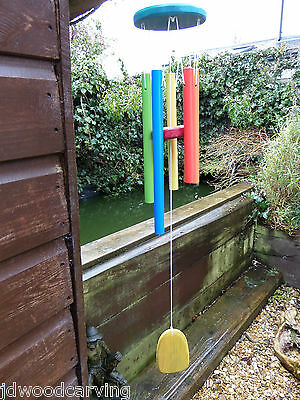 FairTrade Hand Made Metal And Wooden Rainbow Garden Pipes Wind Chime Windchime
