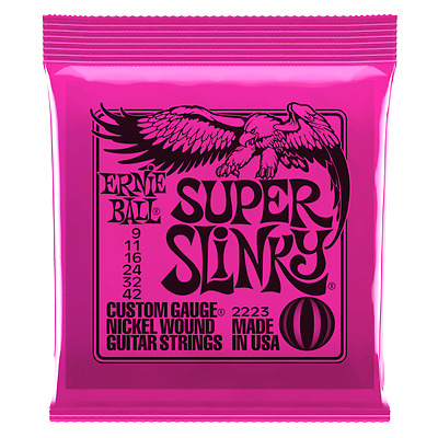 Ernie Ball Super Slinky 09-42 Electric Guitar String Sets or Single Strings 2223