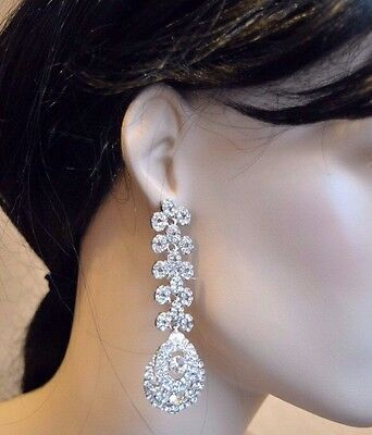 Bridal Women Crystal Diamante Rhinestone Party Wear Prom Elegant Silver Earring