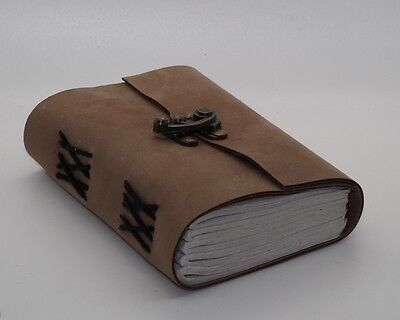 Brown Soft Leather Handmade Book Of Shadows Leather Bound Journal W/ Brass Lock