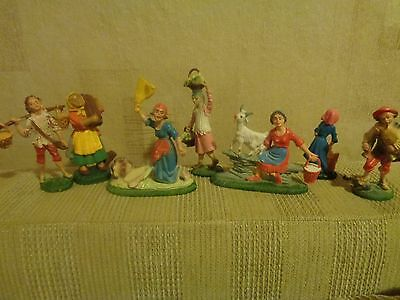 VINTAGE Rare SET  Italian Plastic Figure Nativity  Made in Italy  1970