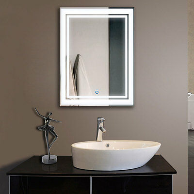 Decoraport Vertical LED Illuminated Lighted Bathroom Wall Mirror w/ Touch Button