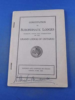 Constitution Of Subordinate Lodges Under Grand Lodge Of Ontario Book 1939