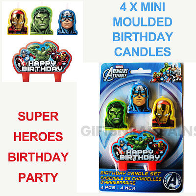 Marvel Avengers Happy Birthday 4 Piece Party Candle Set Super Heroes Themed Cake