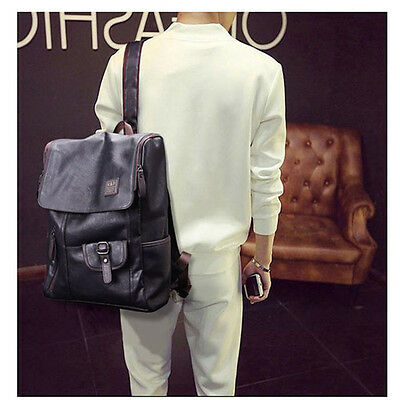Men /Women Leather Backpack Shoulder Bag School Travel Pack Weekender Laptop Bag