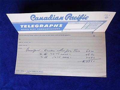 Canadian Pacific Telegraphs Cp Travel Quote Brantford To Quebec Canada Vintage