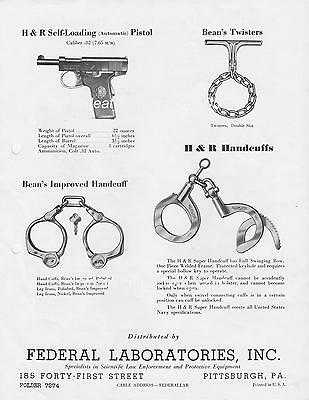 FEDERAL LABORATORIES - c1940s - LAW ENFORCEMENT HANDCUFFS, SHACKLES & TWISTERS