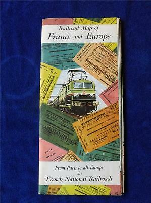 Railroad Map France And Europe French National Railroads Railways Vintage