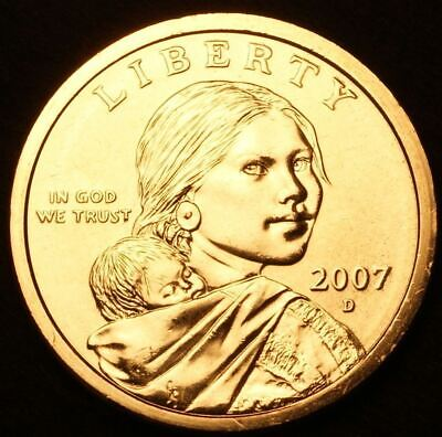 "2007 D Sacagawea Dollar US Mint Coin in ""Brilliant Uncirculated"" Condition"
