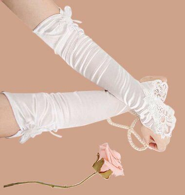 HIPS White Ivory Wedding Party Fingerless Pearls Lace Formal Bridal Gloves