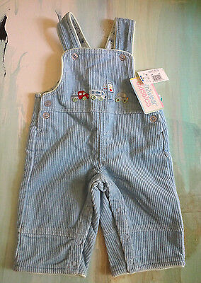 NWT Miniwear Boys 3-6 Months Blue Corduroy Overall Pants Cars Truck Racer