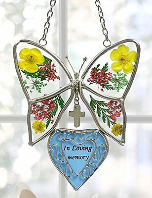 In Loving Memory Butterfly Stained Glass with Flowers Suncatcher, New, Free Ship