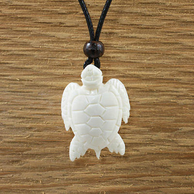 Charming Turtle Pendant Necklace Natural Mens Womens Beach Boho Luck Yak Bone