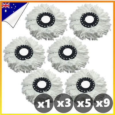 360° Replacement Microfibre White Mop Heads For Spinning Spin Bucket Magic Dry