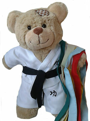 """KARATE OUTFIT WITH DIFFERENT COLOUR GRADE BELTS  FITS 15""""-16""""(40cm) BUILD A BEAR"""