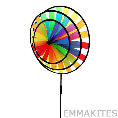 Large Triple Wheels Wind Spinner Rainbow Color For Outdoor Kids Baby Toys Decor