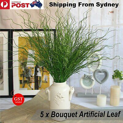 New 5X Bouquet Artificial Wicker Tree Plant Leaf Ivy Garden Floral Wedding Decor