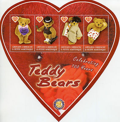Grenadines Grenada 2002 MNH Teddy Bears 100th Anniv 4v M/S Heart Shaped Stamps