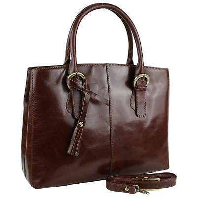 NEW Ladies Italian Vintage Brown LEATHER Grab Bag Handbag by Visconti Tote Strap