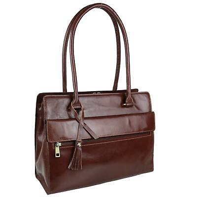 NEW Ladies Italian Vintage Brown LEATHER Tote Work Bag Handbag by Visconti Tan