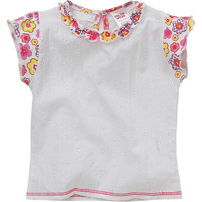 Patch Work Girls Flower Print Broderie Anglais Pretty Cotton Summer Blouse