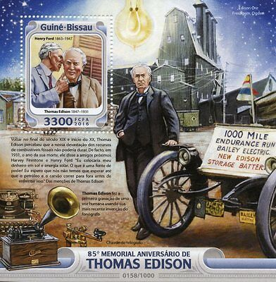 Guinea-Bissau 2016 MNH Thomas Edison 85th Memorial 1v S/S Henry Ford Stamps