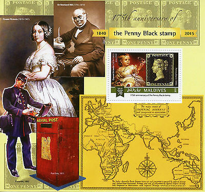 Maldives 2015 MNH Penny Black 175th Anniv 1v S/S Sir Rowland Hill Stamps