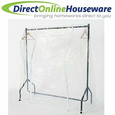 TRANSPARENT 4ft Long x 5ft High CLOTHES RAIL COVER HANGING 2 ZIPPERS HANGER