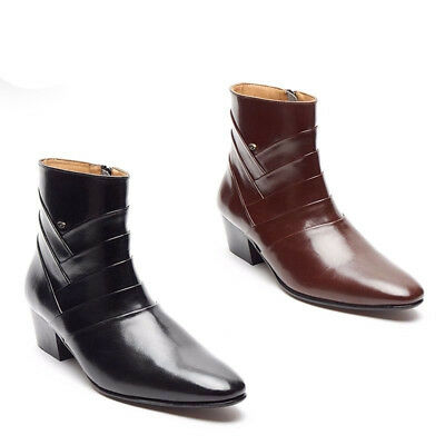 Lucini Mens Side Zip Leather Cuban Heel Boots Black & Brown Colour