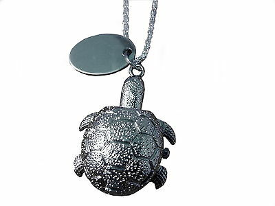 Custom engraved / personalised Turtle pendant watch in gift pouch - O8-slr-p