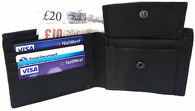 Mens New High Quality Soft Black Leather Wallet,Cash Note,Card Holder-108