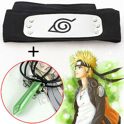 Cosplay Anime Naruto Kakashi Sasuke Leaf Village Konoha Ninja Headband+Necklace