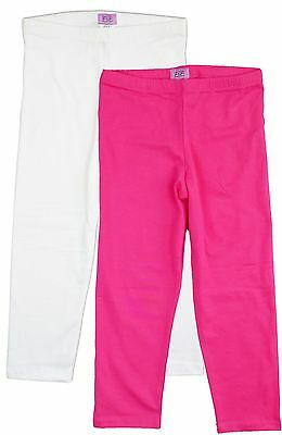 New Girls Kids Pink or White Cropped Summer Leggings Sale Age 4 5 6 7 8 9