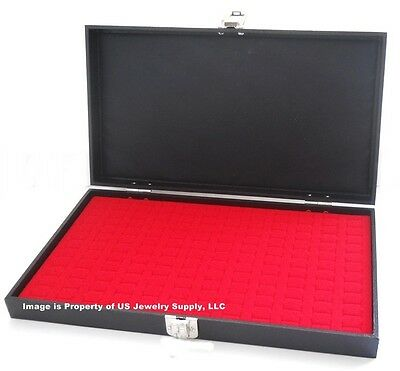 1 Wholesale Solid Top Lid Red 144 Ring Display Portable Storage Boxes Case