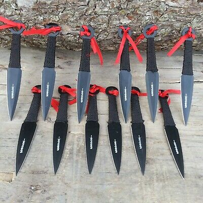12PC Black Ninja Tactical Combat Hunting Kunai Throwing Knife Set w/ CASE