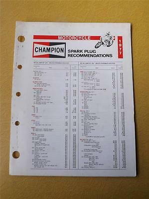 Champion Spark Plug Recommendations Motorcycle Brochure Canada 1977