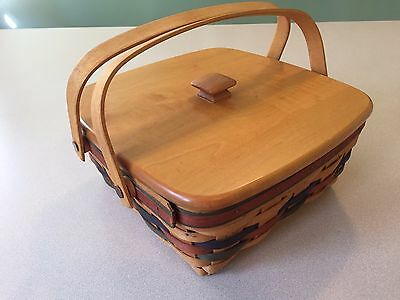 Longaberger Basket With Lid Liner And Carry Handles