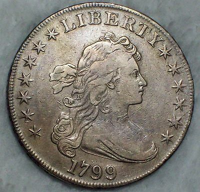 1799 BUST SILVER DOLLAR Gorgeous VF+/XF Detailing BB-163 B-10b RARE Authentic $1