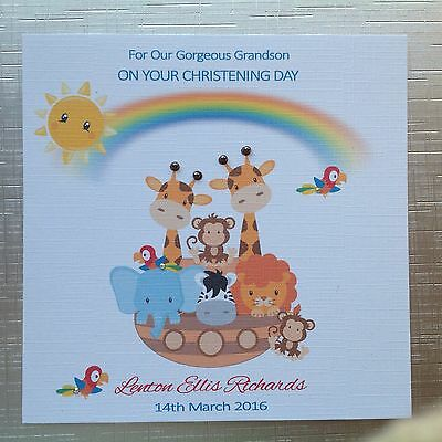 PERSONALISED Handmade CHRISTENING NAMING DAY Card NOAH'S ARK with SPARKLES