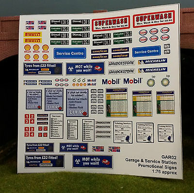 1:76 HO OO 00 Gauge Model Railway Modern Image Assorted Garage Forecourt Signs
