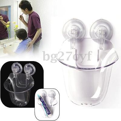 Wall Mount Suction Toothbrush Holder Toothpaste Storage Rack Stand Home Bathroom