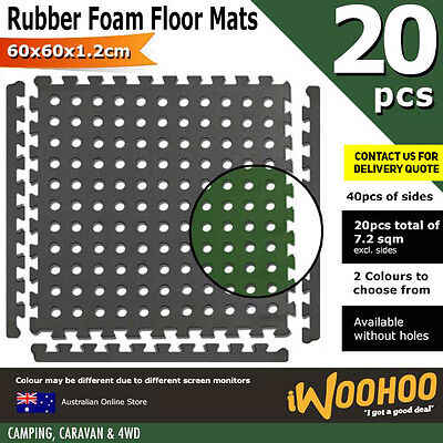 EVA Rubber Foam Mat 60x60x1.2cm Floor Mat 20 x EVA Mats & 40 Edge Portable Light