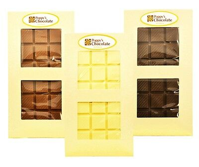 Poppy's Chocolate- Milk, Dark & White Couverture Chocolate Bar. Australian Made