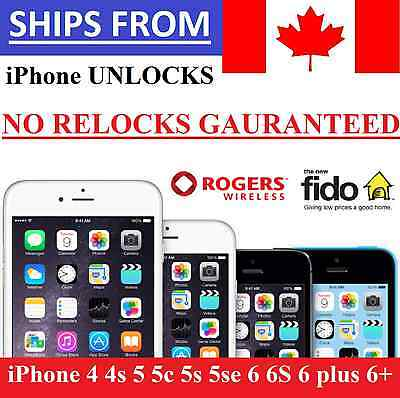 ➡➡  Unlock Rogers Fido Apple iPhone 4 4s 5 5c 5s 6 6S 6 plus 6+ 7 7+ NO RELOCKS
