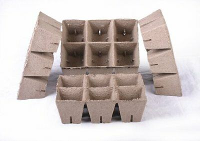 150 NEW Square Jiffy Peat Pots Size 3x3 - Strips ~ Pots Are 3 Inch Square At the